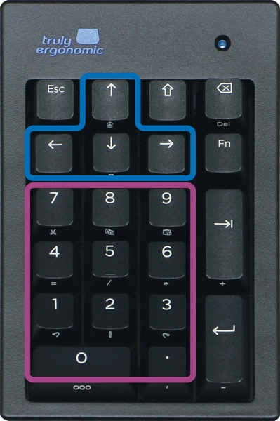 Truly Ergonomic Mechanical Numeric Keypad - Simultaneous use of numbers and directional keys