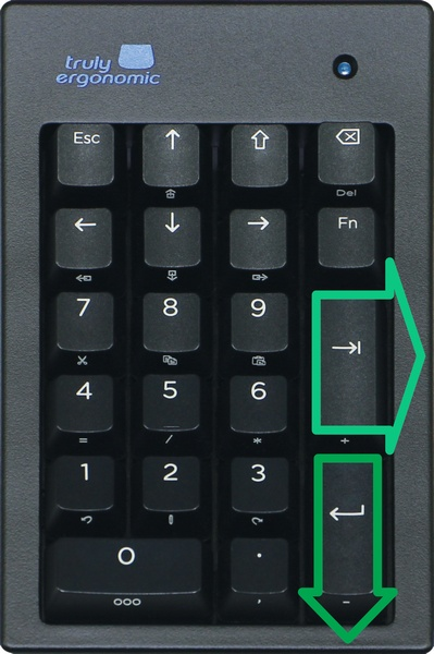 Truly Ergonomic Mechanical Numeric Keypad - Uniquely includes the addition of a BIG TAB