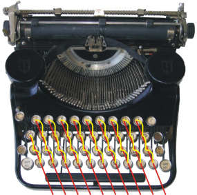 Staggered typewriter